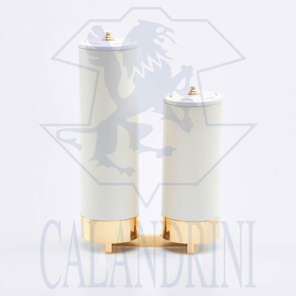 Candelabro 2 llamas en una escala de vela falsa